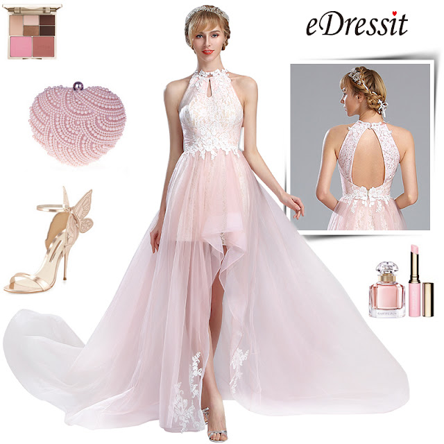 Light Pink Halter Lace Prom Mermaid Homecoming Dress