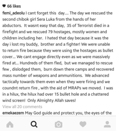 Photos: Nigerian soldier reveals details from the rescue