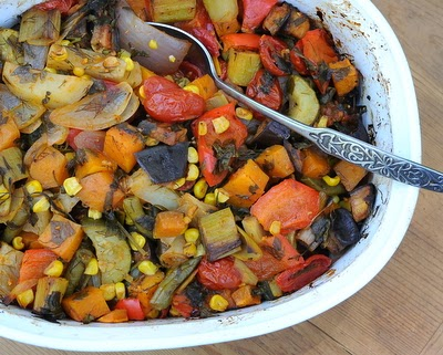 Tourlou Toulou (Greek Baked Vegetables), a rainbow of vegan vegetables slow-cooked in oven, great for parties, serve hot or at room temperature.