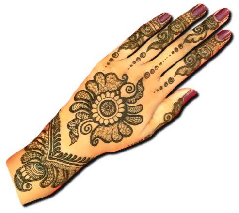 Wedding Back Hand Henna Design