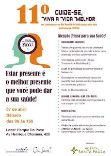 Atenção plena é tema de evento do Dia Mundial da Saúde no Parque do Povo