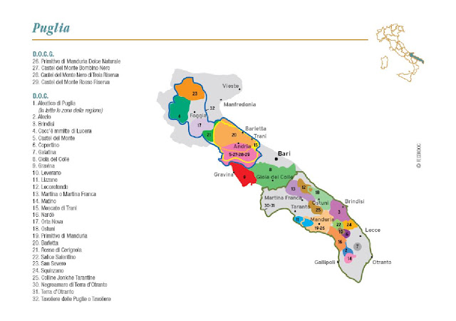 wine map of Puglia's wine region