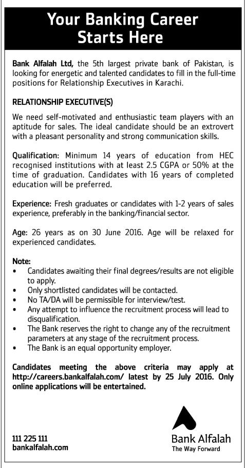 Relationship Executive Jobs in Bank Alfalah Pakistan
