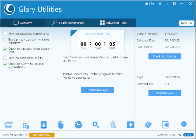 Glary Utilities PRO 5.98.0.120 Windows PC Tools Software.