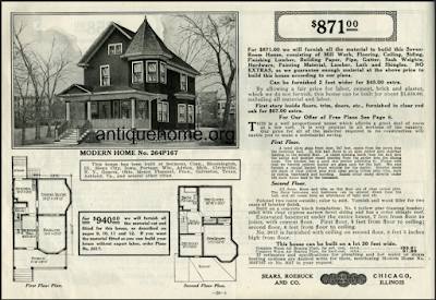 Sears Maytown: turret sided two-story farmhouse with front porch and bay window on the front and side