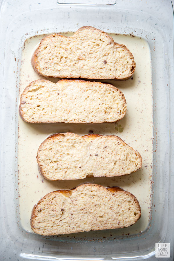 Soaking bread for Oven French Toast recipe