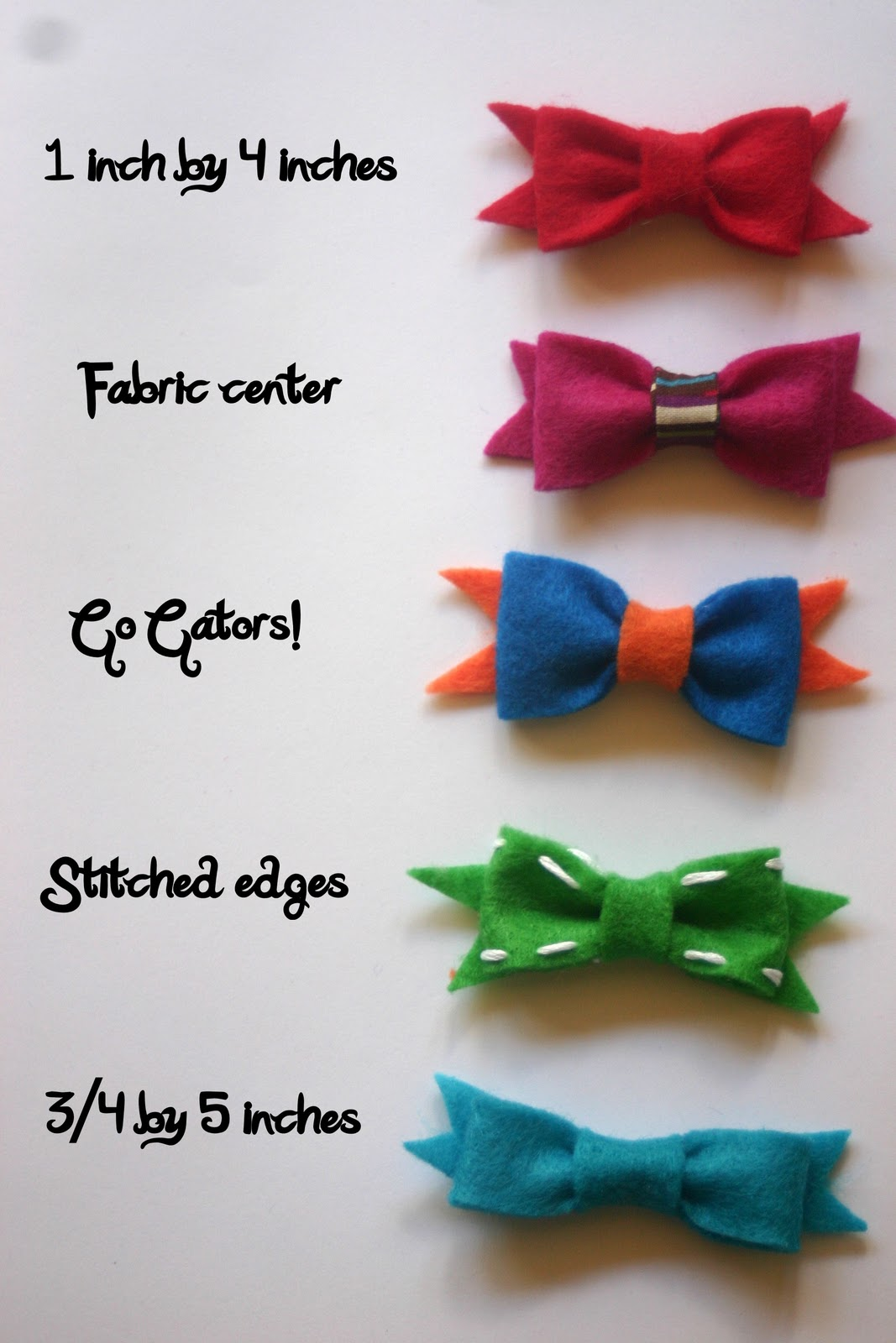 different hair bow styles no sew felt bows lines across 3102