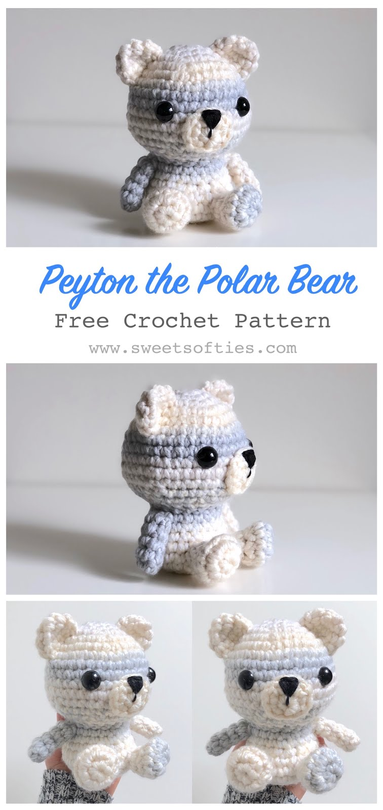 Amigurumi Mini Teddy Bear Free Crochet Pattern | 1600x756