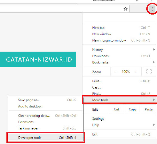 Buka Developer Tools - Catatan Nizwar ID
