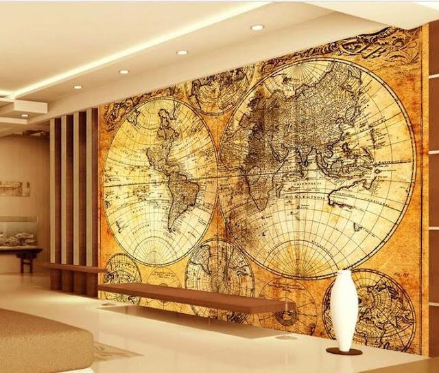 Tapet världskarta fototapet antik karta gammal fondtapet
