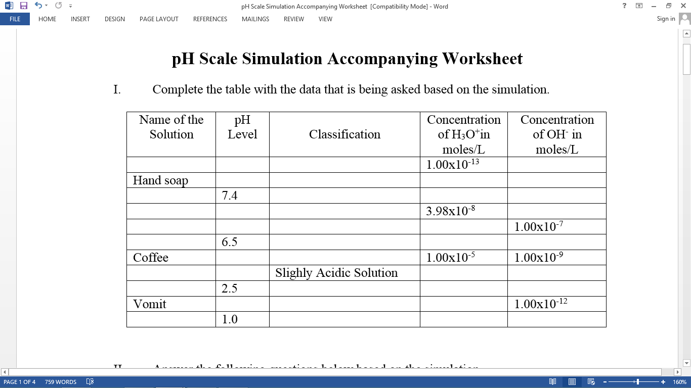 Jaypee Limbauan Phet Colorado Ph Scale Simulation Accompanying Worksheet