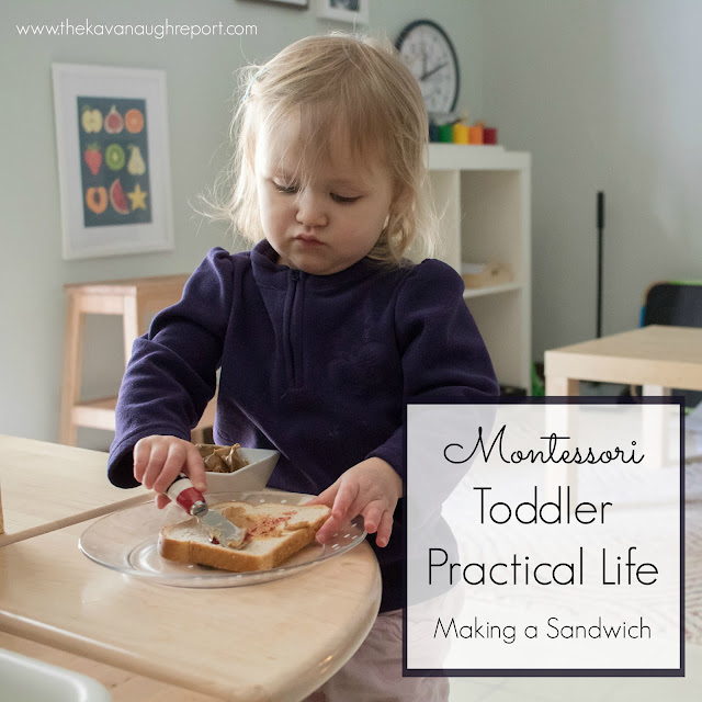 Toddlers are capable of so many practical activities. Making a sandwich is a simple practical life activity for Montessori toddlers at home.