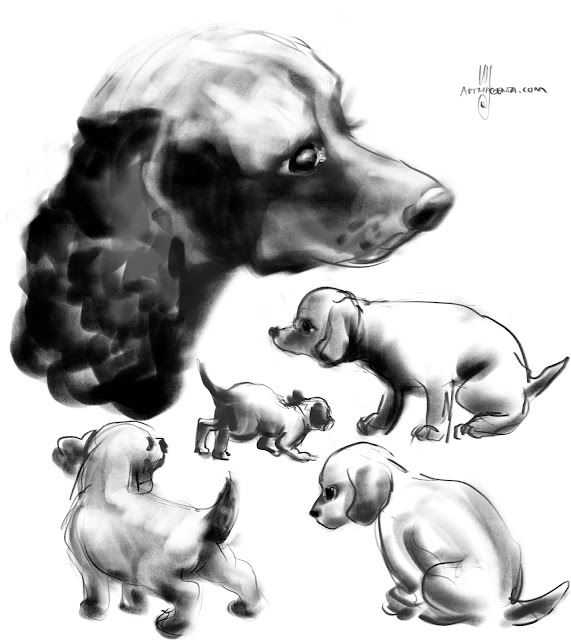 Cocker spanials dog painting by Artmagenta
