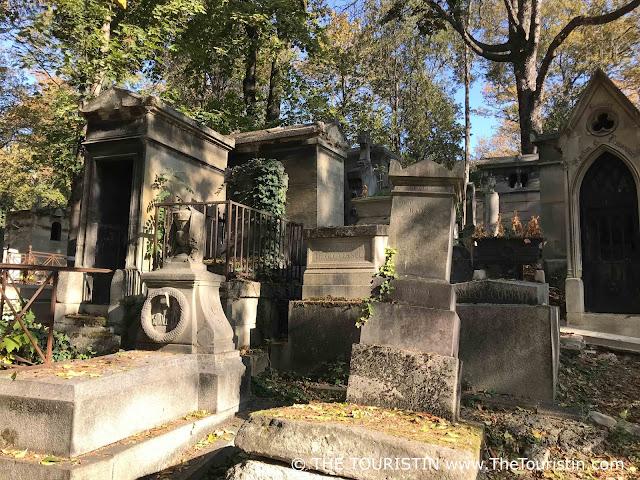 Cemetery, tombstones in autumn.