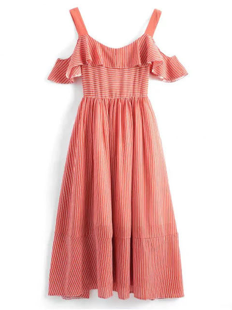 Cold Shoulder Backless Flounce Striped Dress