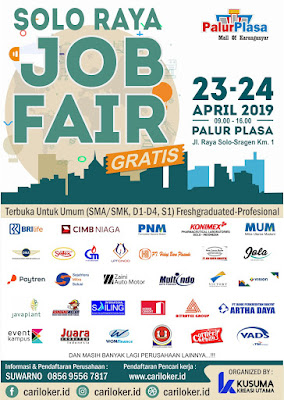 Soloraya Job Fair 2019 Tanggal 23 - 24 April 2019 di Palur Plasa (100% Gratis Masuk....!!!)