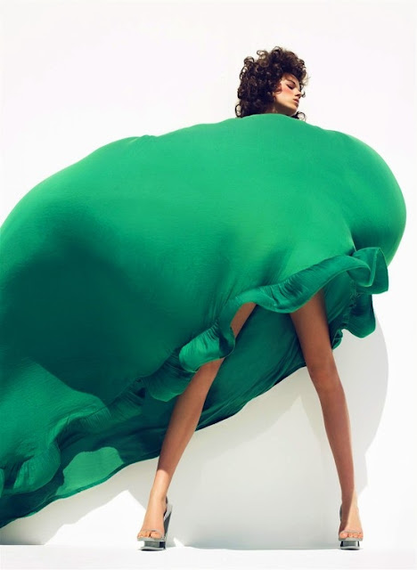 Emerald green dress on Freja Beha Erichsen by Sølve Sundsbø for Harper's Bazaar (March 2008)