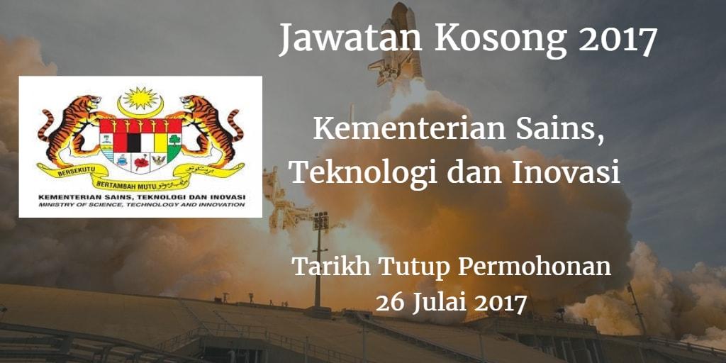 Jawatan Kosong MOSTI 26 Julai 2017