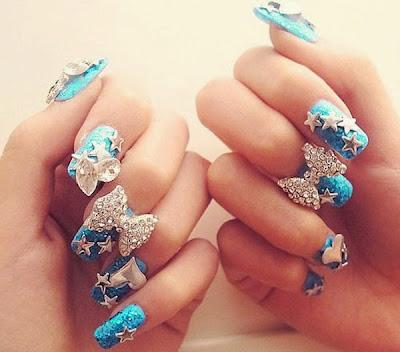 Uñas decoradas estilo quinceañera-nail designs