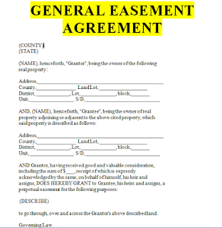 General Easement Agreement Form In Word Sample Contracts