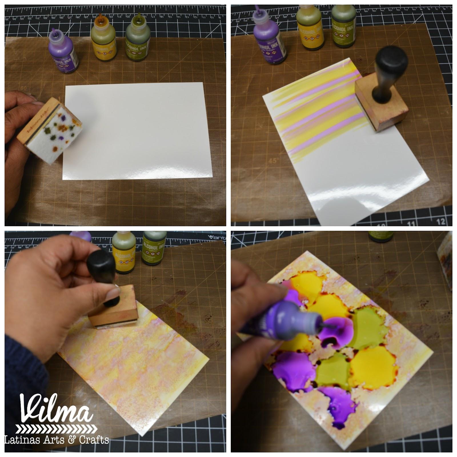 Latinas Arts and Crafts: Cuadro con mariposa-Tintas de alcohol