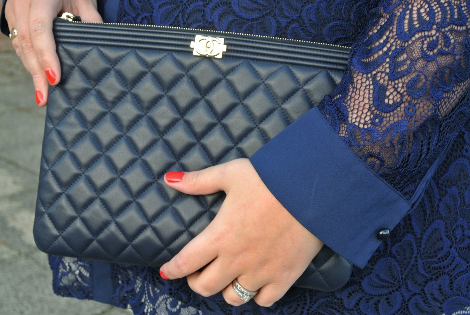 Gemma Collins Collection Azure Navy Shirt With Flattering Lace Sleeves WhatLauraLoves Blogger Review Chanel Clutch