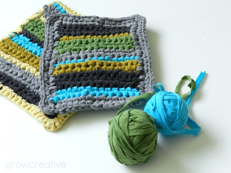 Free Crochet Pattern:  Striped T-Shirt Yarn Hot Pads