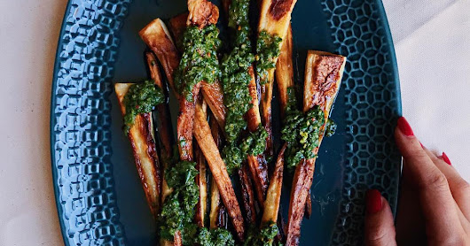 Roasted Chimichurri Parsnips