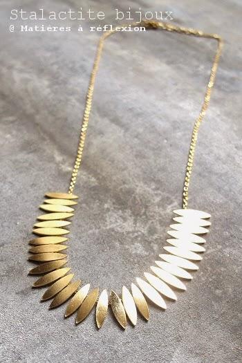 Collier plaqué or Stalactite bijoux feuilles