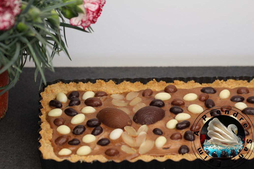Tarte de Pâques amandes chocolat et poires