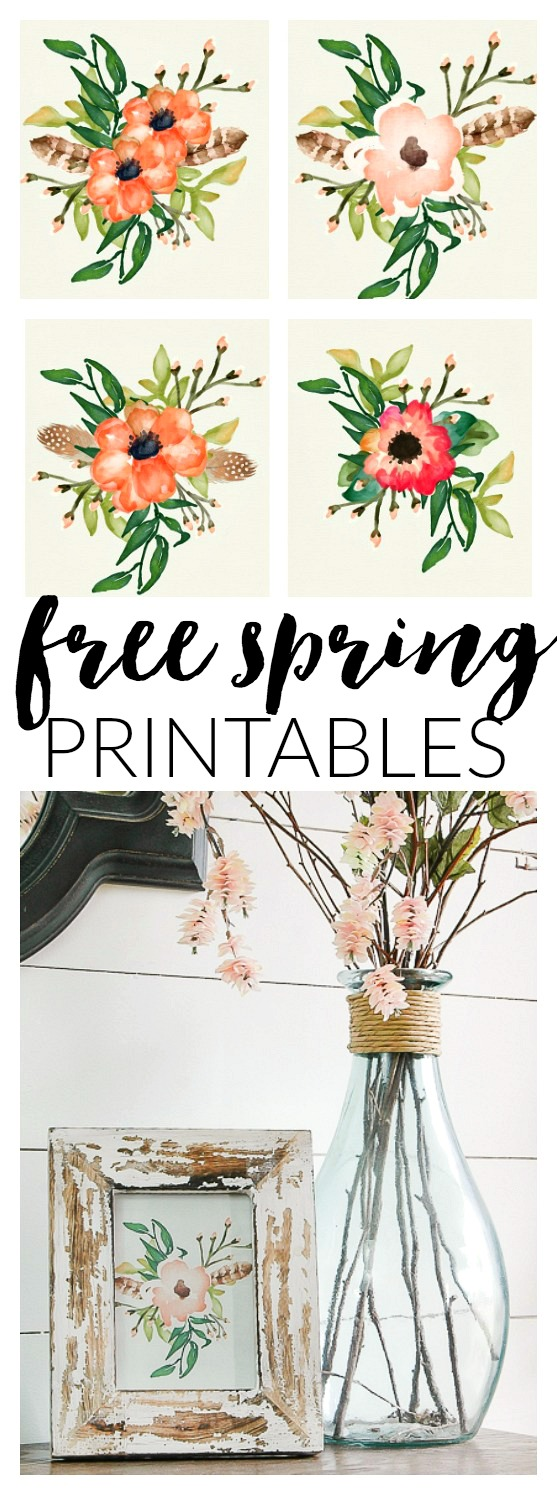 Four free poppy printables for spring