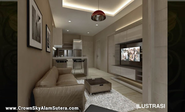 Living Room Design Crown Sky Apartemen AlSut