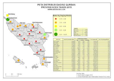 Peta dan data tabular distribusi qurban Prov. Aceh 2015