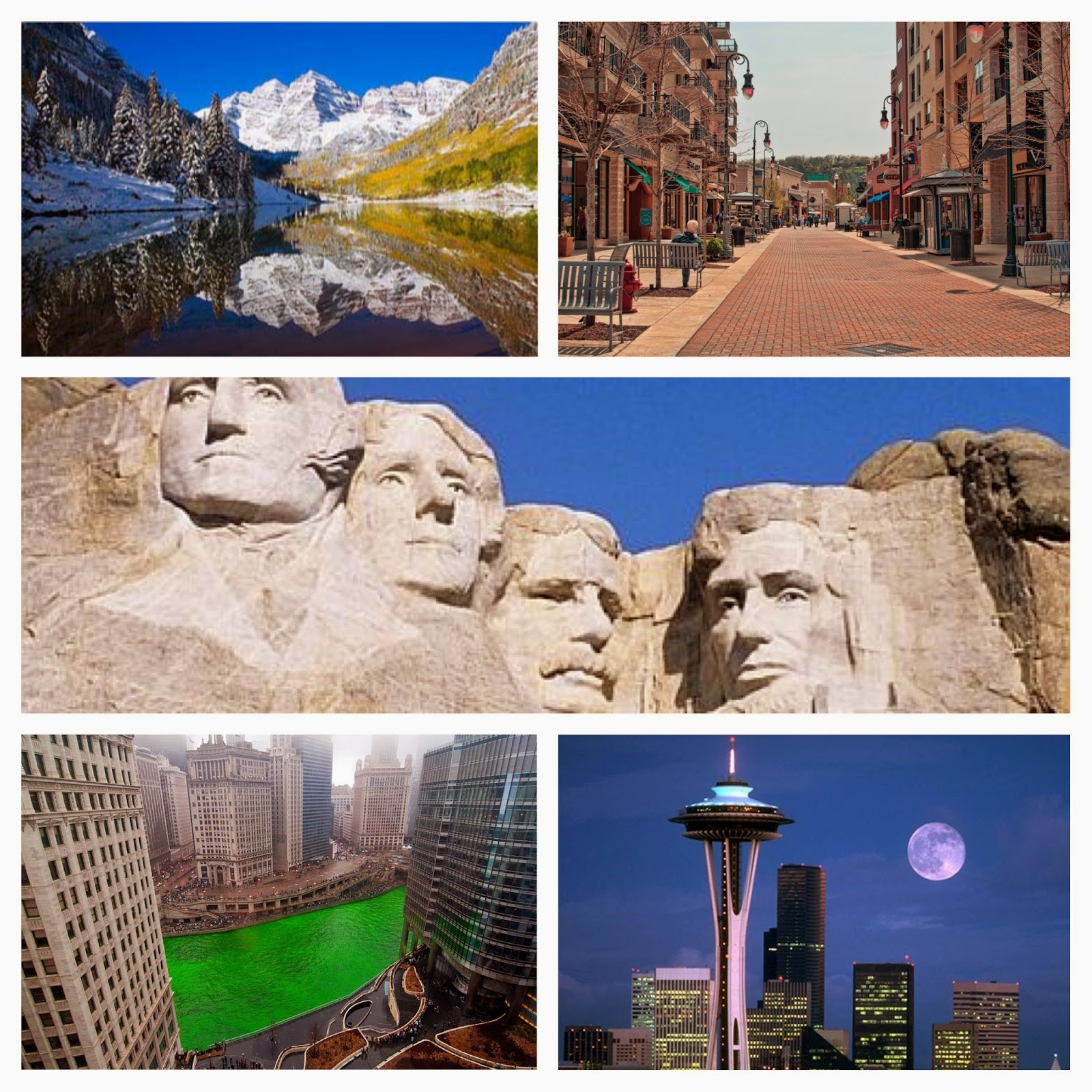 Collage Of Images From Top Travel Destinations In The US