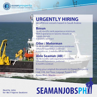 Offshore job vacancies for seamen join october-november-december 2018
