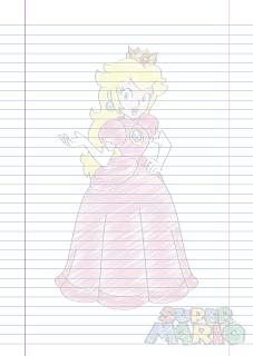 Folha Papel Pautado Princesa Peach rabiscado em PDF para imprimir folha A4
