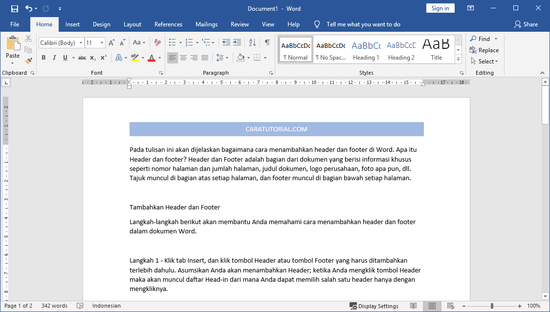Tutorial Header dan Footer di Microsoft Word