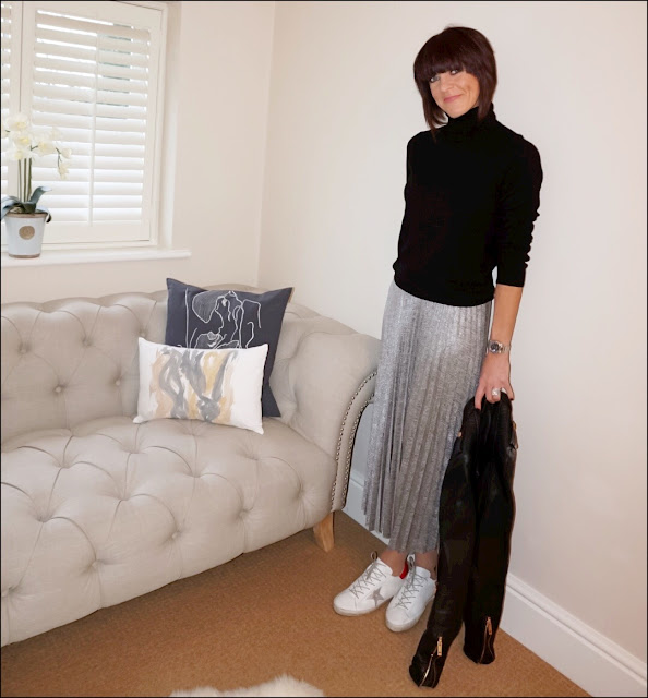 My Midlife Fashion, marks and spencer pure cashmere polo neck jumper, warehouse metallic plisse midi skirt, golden goose superstar leather trainers, zara leather biker jacket