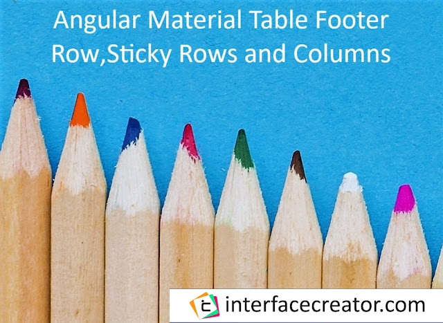 Material Angular Table with sticky header,sticky column and Sticky Footer,Material Angular Table Part 3