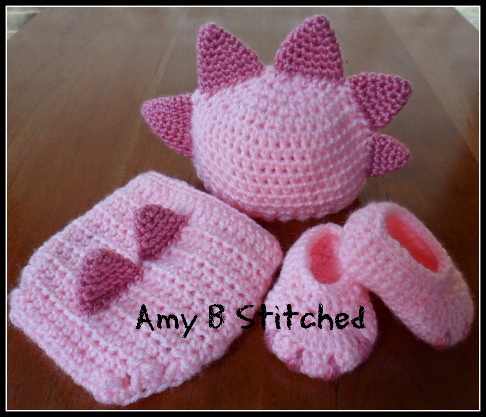 7904da333e1 Newborn DINOSAUR BABY Hat and Diaper Cover Set AND a Pattern review for  Monster Dinosaur Booties