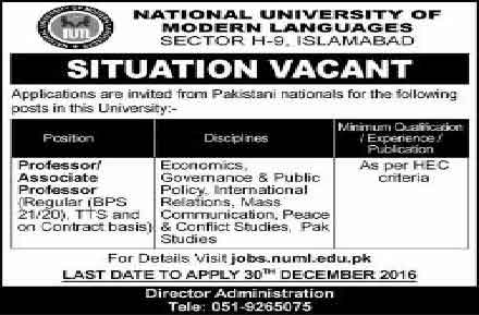 National University of Modern Languages Jobs in Islamabad Second AD