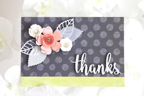 Layered Leaves, Mini Royal Roses, Mini Hybrid Heirloom Rose, and Thanks & Hello Die-namics - Liann #mftstamps