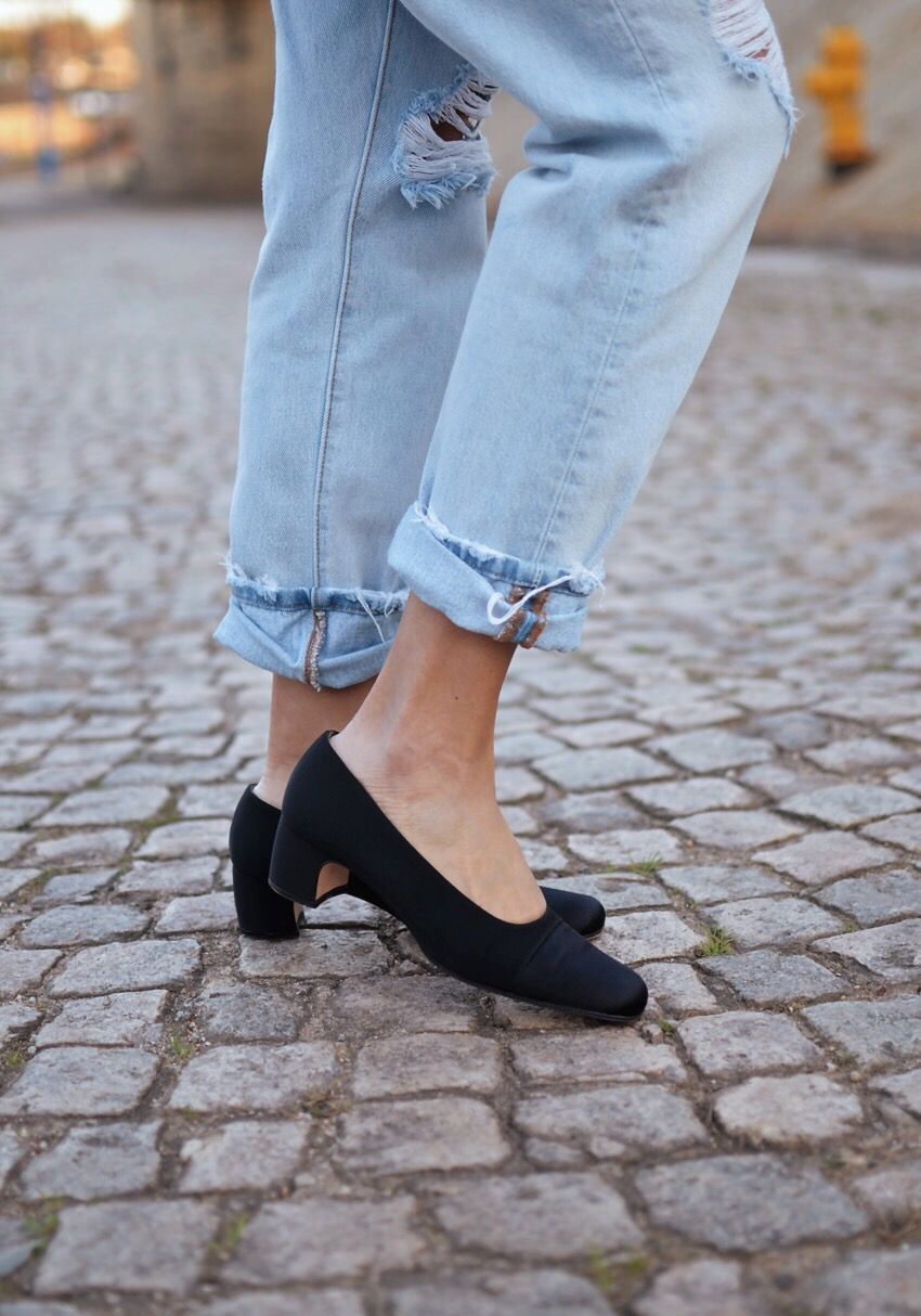 Satin shoes street style