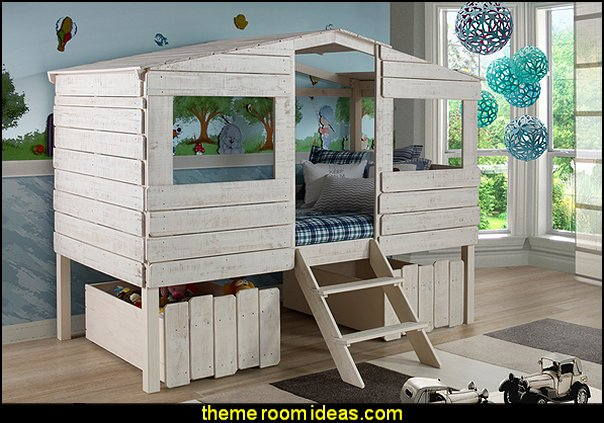 Kids Rustic Sand Twin Tree House Loft Bed treehouse theme bedrooms - backyard themed kids rooms - cat decor - dog decor - bugs and critters theme bedrooms - camping theme bedrooms - Happy Camper little boys outdoor theme bedroom