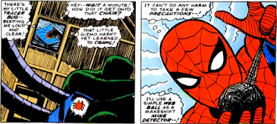 Amazing Spider-Man #53, john romita, spider-man finds his spider-tracer attached to doctor octopus's chair but he gets suspicious and rolls a ball of webbing