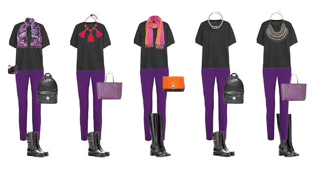 Фиолетовые брюки и черный топ с аксессуарами