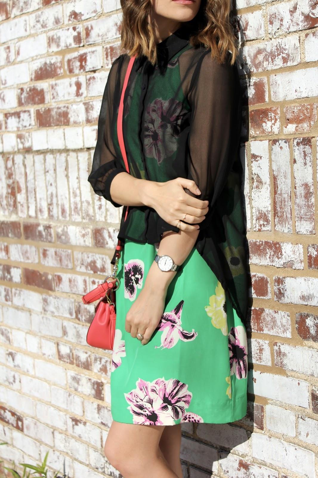 Green Floral Silk Dress