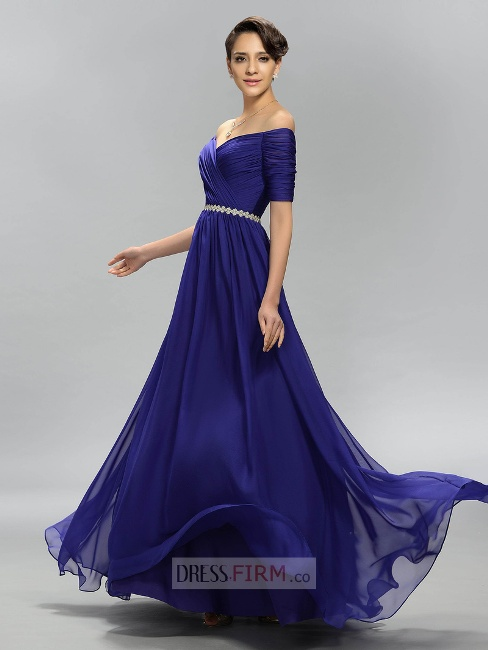 2017 New Style Charming A-Line Off the Shoulder Empire Pleats Gowns / Dresses For Evening- Price:£ 94.00