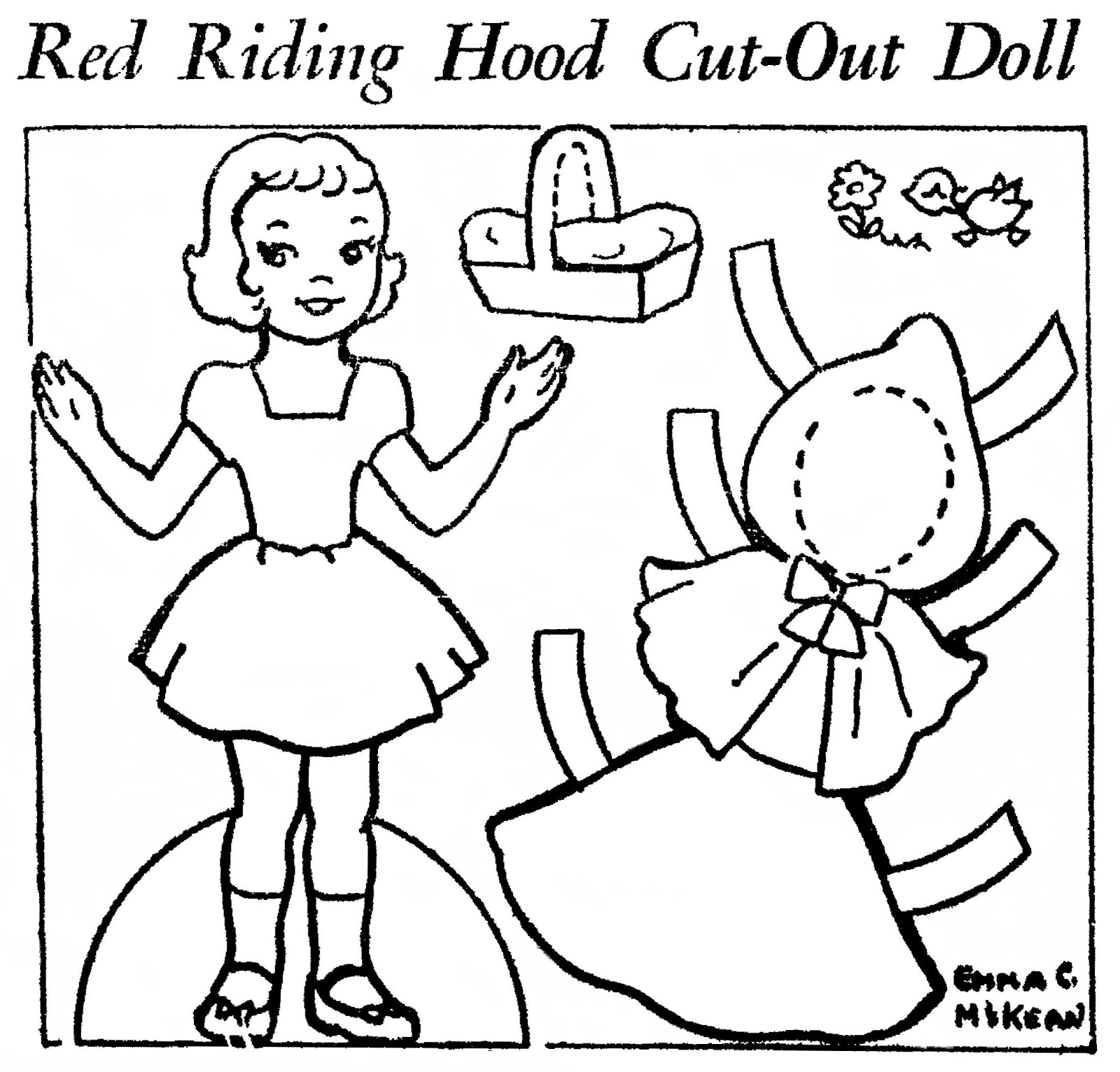 Mostly paper dolls too red riding hood cut out doll for Paper doll templates cut out
