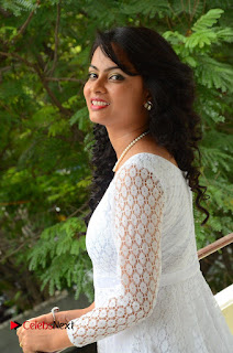 Actress Athidhi D Pictures in White Long Dress at Attarillu Audio Launch  0049.JPG